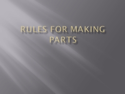 Rules for making parts PARTS ARE MADE OF FEATURES