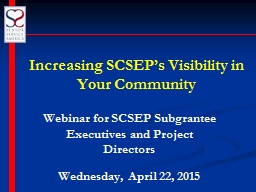 Increasing  SCSEP's Visibility in Your Community