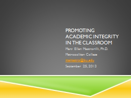 Promoting academic integrity in the classroom