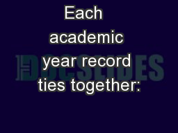 Each  academic year record ties together: