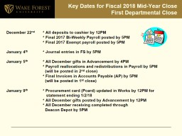 Key Dates for Fiscal 2018 Mid-Year Close