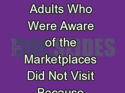 Six of 10 Uninsured Adults Who Were Aware of the Marketplaces Did Not Visit Because They Did Not Th PowerPoint PPT Presentation