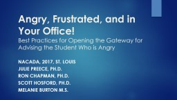 Angry, Frustrated, and in Your Office!