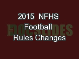 2015  NFHS Football Rules Changes