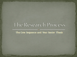 The Core Sequence and Your Senior Thesis