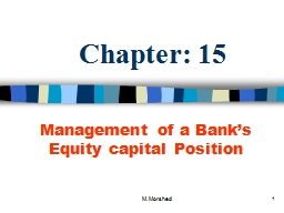 M. Morshed 1 Chapter: 15 PowerPoint PPT Presentation