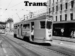 Trams A tram is a light-rail vehicle for public transport. Trams are distinguished from other forms
