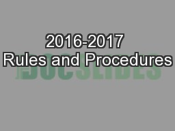 2016-2017 Rules and Procedures