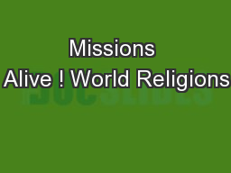 Missions Alive ! World Religions