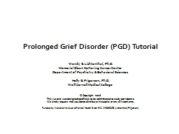 Prolonged Grief Disorder (PGD) Tutorial