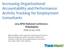 Increasing Organizational Accountability and Performance: Activity Tracking for Employment Consulta