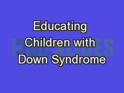 Educating Children with Down Syndrome