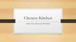 Chenese  Kitchen Jeffrey Chen's Restaurant Web Portal