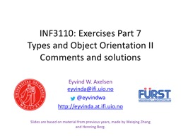 INF3110: Exercises Part 7