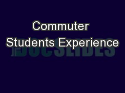Commuter Students Experience