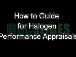 How to Guide for Halogen Performance Appraisals