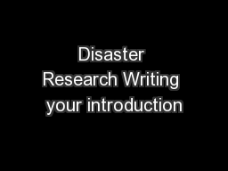 Disaster Research Writing your introduction