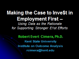 Making the Case to Inve$t in Employment First –