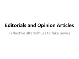 Editorials and Opinion Articles
