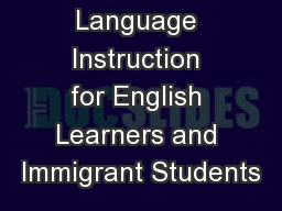 Title III Language Instruction for English Learners and Immigrant Students