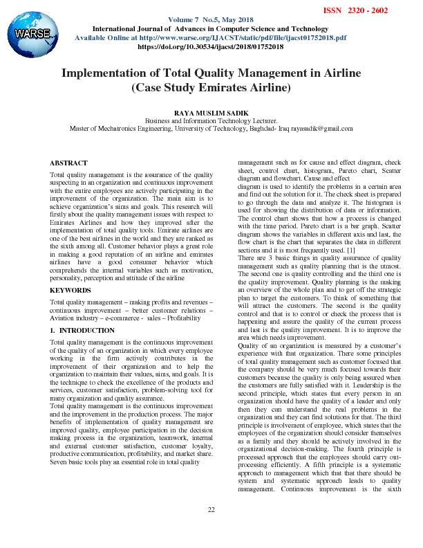 Implementation of Total Quality Management in Airline (Case Study Emirates Airline)