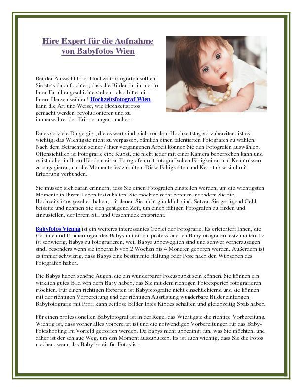 Hire Expert f�r die Aufnahme von Babyfotos Wien