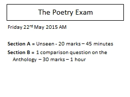 Which poem? Why? The Poetry Exam