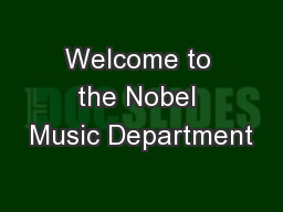 Welcome to the Nobel Music Department