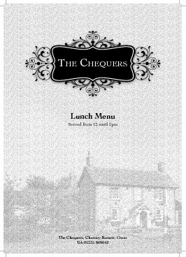 HE C HEQUERS Lunch Menu Served from  until pm The Cheq PowerPoint PPT Presentation