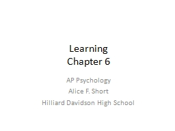 Learning Chapter 6 AP Psychology