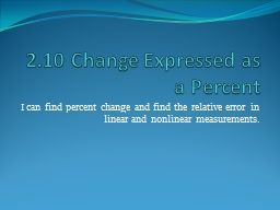 2.10 Change Expressed as a Percent PowerPoint PPT Presentation