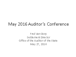 May 2016 Auditor's Conference