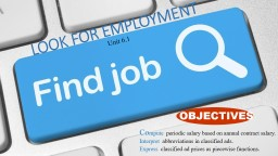 LOOK  FOR EMPLOYMENT Unit 6.1