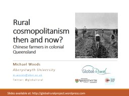 Rural cosmopolitanism then and now?