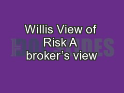 Willis View of Risk A broker's view
