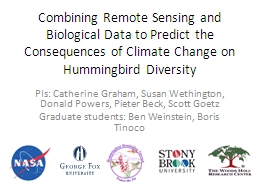 Combining Remote Sensing and Biological Data to Predict the
