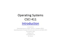 Operating Systems CSCI 411