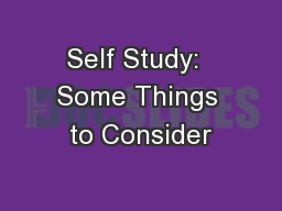 Self Study:  Some Things to Consider