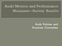 Audit Metrics and Performance Measures�Survey Results