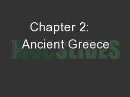 Chapter 2:   Ancient Greece