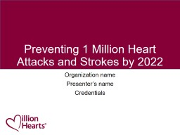 Preventing 1 Million Heart Attacks and Strokes by 2022