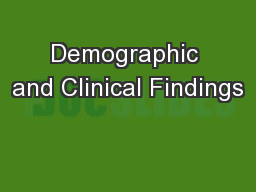Demographic and Clinical Findings