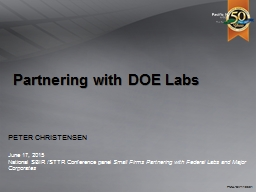 Partnering with DOE Labs PowerPoint PPT Presentation