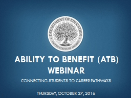 Ability to benefit (ATB) Webinar