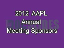 2012  AAPL Annual Meeting Sponsors