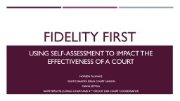 Fidelity First Using self-assessment to impact the effectiveness of a court