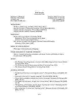 Je Speaks Curriculum vitae Department of Philosophy University of Notre Dame  Malloy Hall Notre Dame IN  telephone o ce
