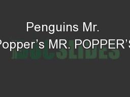 Penguins Mr. Popper's MR. POPPER'S