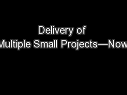 Delivery of Multiple Small Projects—Now! PowerPoint PPT Presentation
