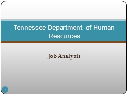 Job Analysis Tennessee Department of Human Resources